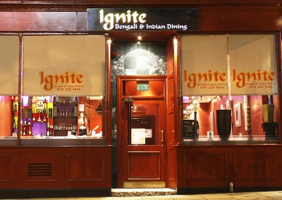 Identity, print, website and internet marketing for Ignite Restaurant, Edinburgh