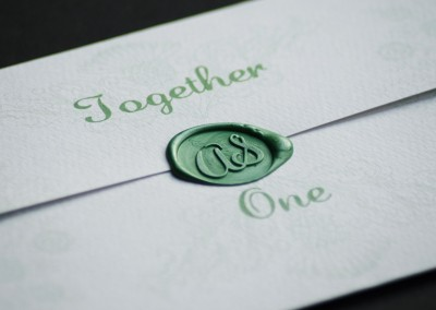 Wedding stationery with a wax seal